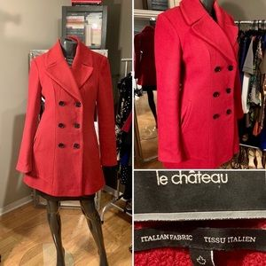 📌BRAND NEW red LE CHÂTEAU trench coat.